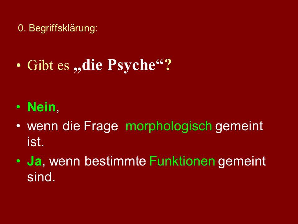 0. Begriffsklärung: Was versteht man unter die Psyche? psychisch? Psychologie?