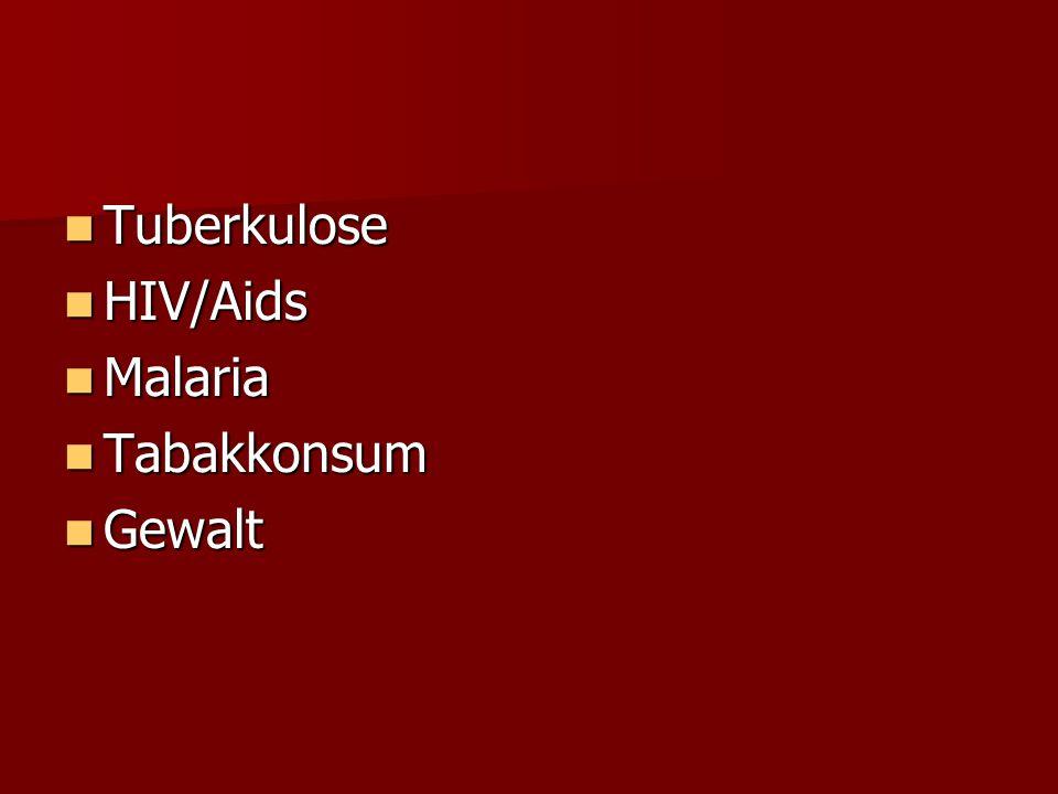 Tuberkulose Tuberkulose HIV/Aids HIV/Aids Malaria Malaria Tabakkonsum Tabakkonsum Gewalt Gewalt