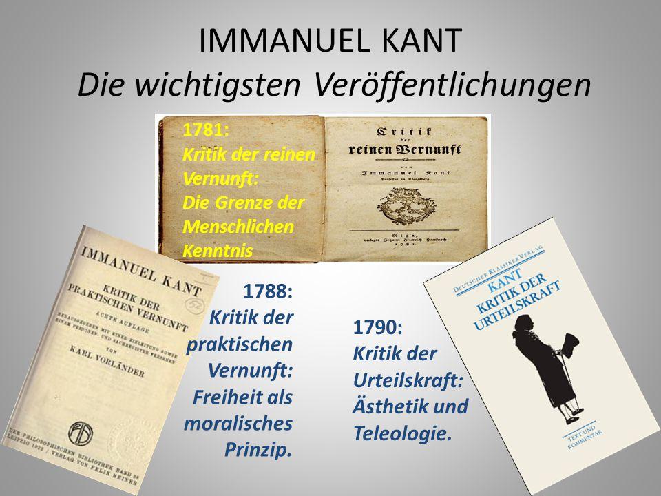 IMMANUEL KANT Die letzten Jahren -1794: Konflikt mit preußischer Zensur und Reduzierung der Lehrtätigkeit.