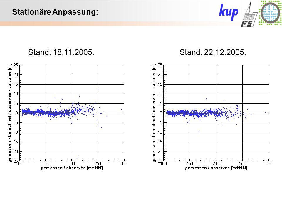 Untersuchungsgebiet: Stationäre Anpassung: Stand: 18.11.2005.Stand: 22.12.2005.