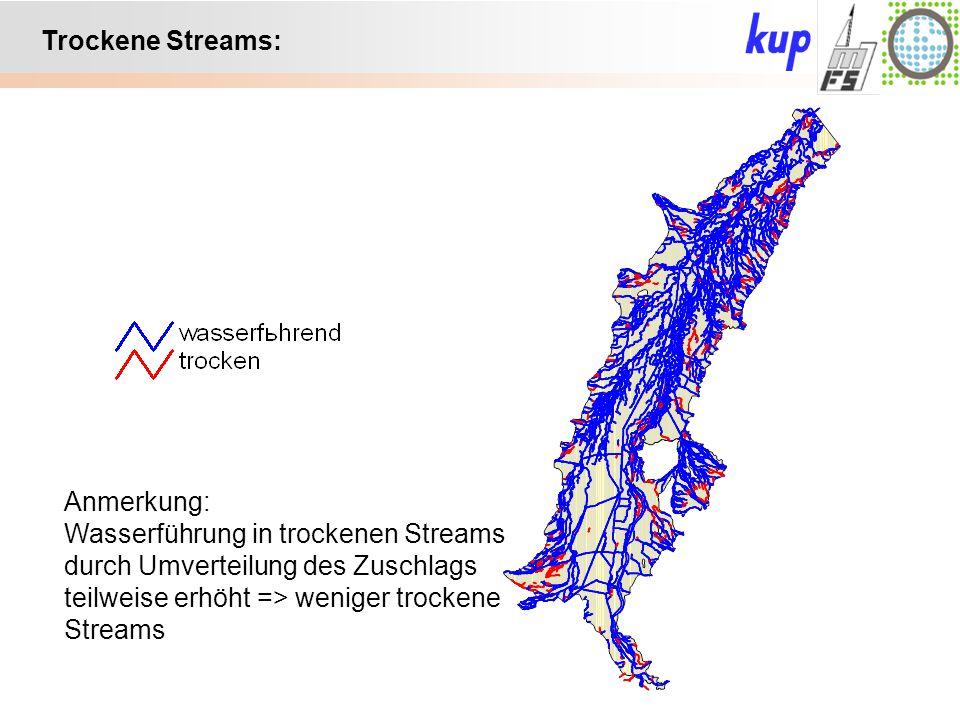 Untersuchungsgebiet: Trockene Streams: Anmerkung: Wasserführung in trockenen Streams durch Umverteilung des Zuschlags teilweise erhöht => weniger troc
