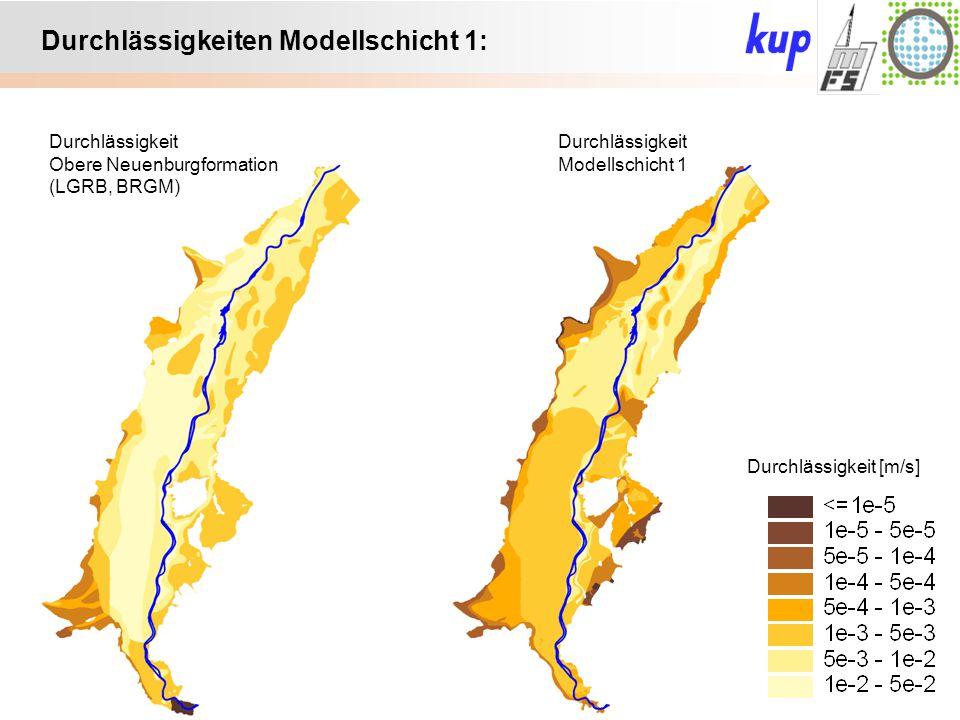 Untersuchungsgebiet: Durchlässigkeiten Modellschicht 1: Durchlässigkeit Obere Neuenburgformation (LGRB, BRGM) Durchlässigkeit Modellschicht 1 Durchlässigkeit [m/s]