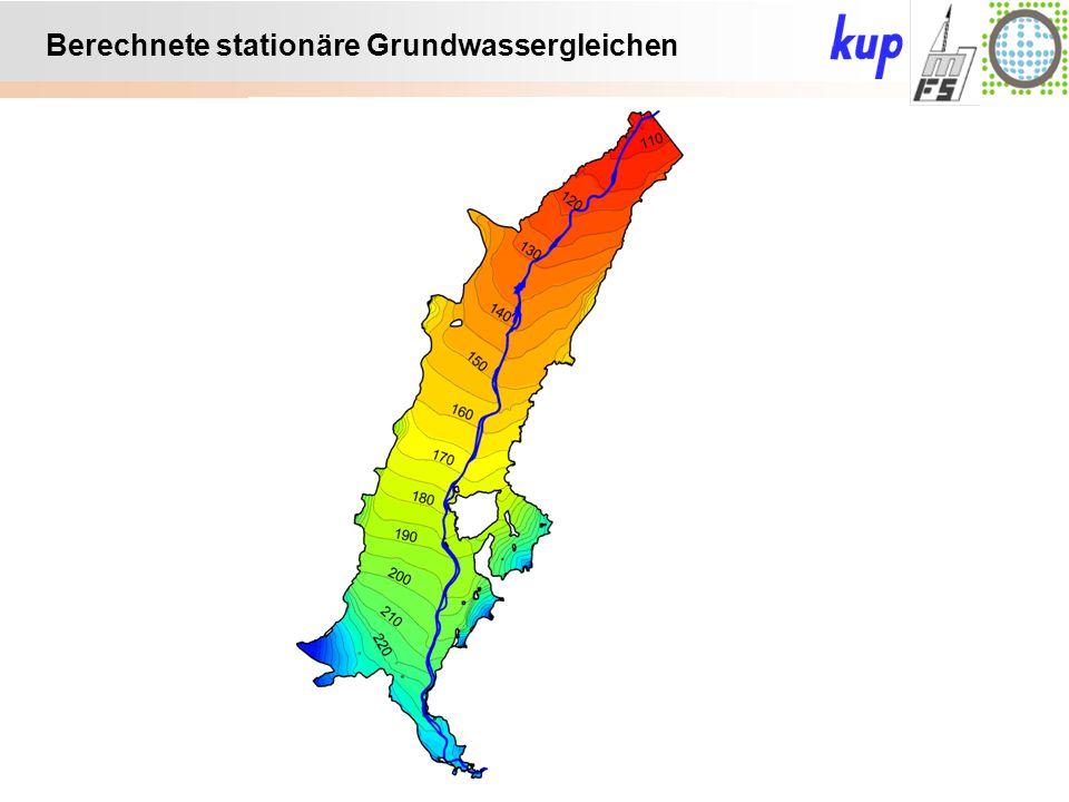 Untersuchungsgebiet: Berechnete stationäre Grundwassergleichen