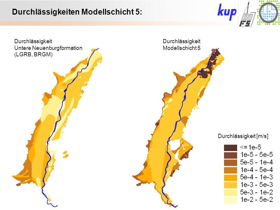 Untersuchungsgebiet: Durchlässigkeiten Modellschicht 5: Durchlässigkeit Modellschicht 5 Durchlässigkeit Untere Neuenburgformation (LGRB, BRGM) Durchlä