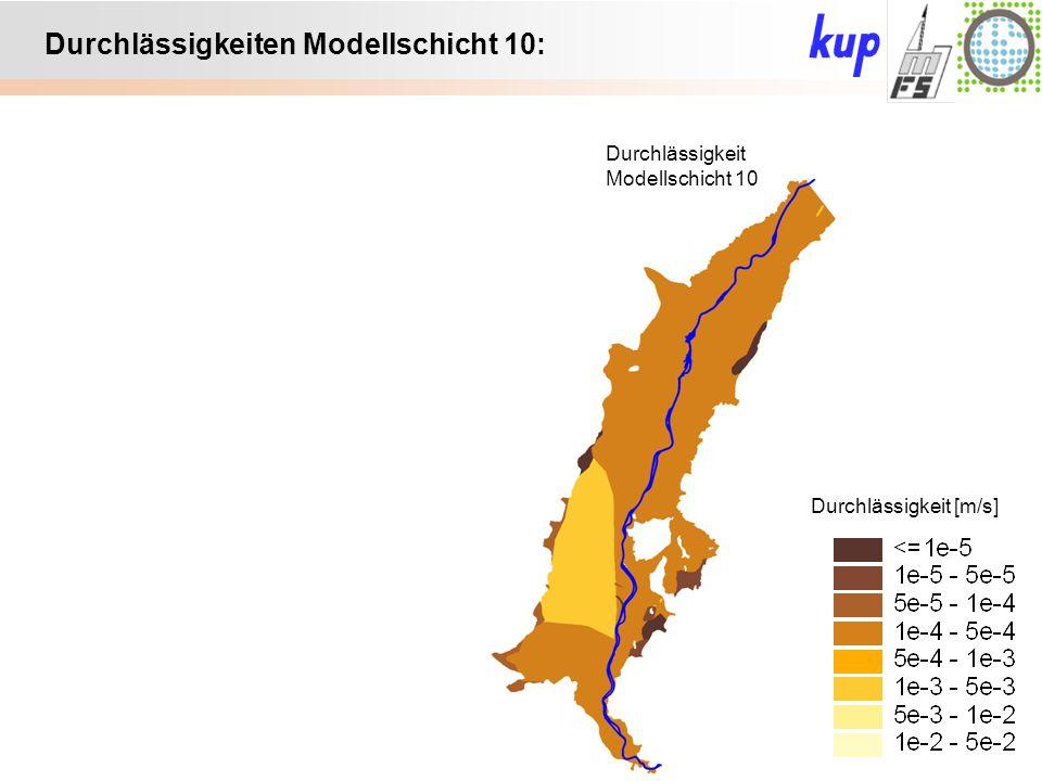 Untersuchungsgebiet: Durchlässigkeiten Modellschicht 10: Durchlässigkeit Modellschicht 10 Durchlässigkeit [m/s]
