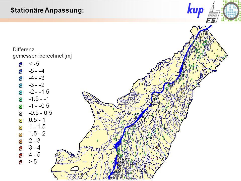Untersuchungsgebiet: Infitrierende / Exfiltrierende Streams bei eingetiefter Sohle: Leakagekoeffizient Infiltration: 3.0e-6 Exfiltration: 4.5e-6 Änderung der Exfiltrationsrate: 48,8 m³/s 51,8 m³/s