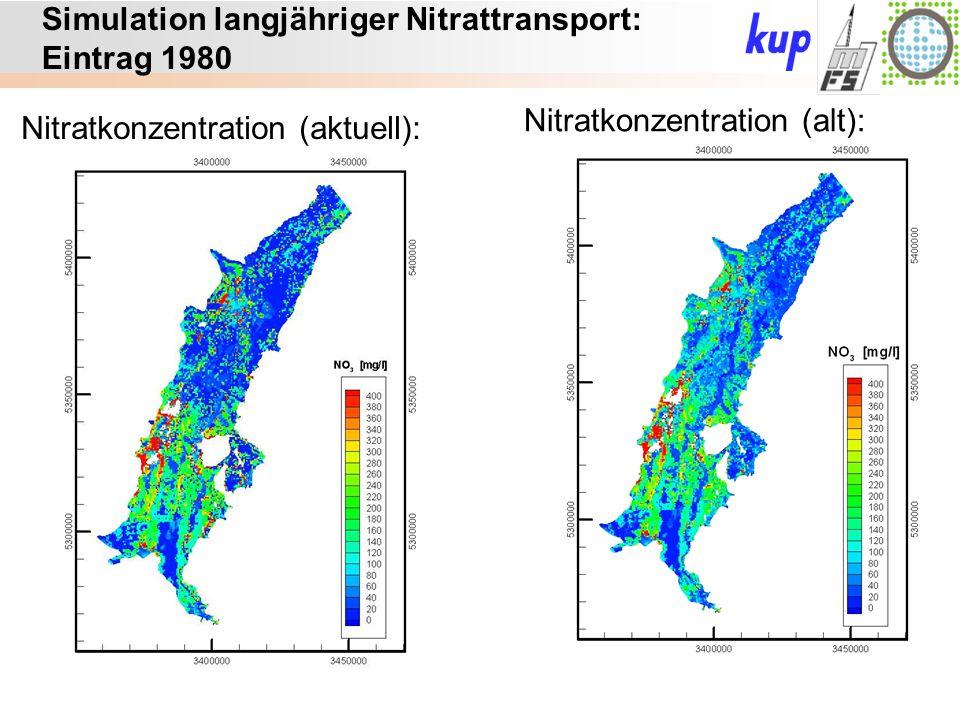 Untersuchungsgebiet: Simulation langjähriger Nitrattransport: Eintrag 1980 Nitratkonzentration (aktuell): Nitratkonzentration (alt):