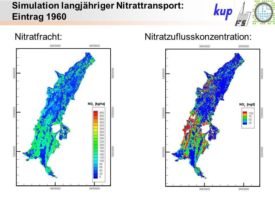 Untersuchungsgebiet: Simulation langjähriger Nitrattransport: Eintrag 1960 Nitratfracht:Nitratzuflusskonzentration: