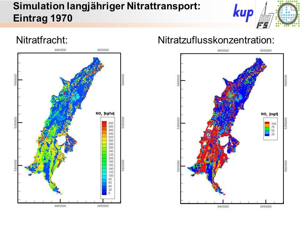 Untersuchungsgebiet: Simulation langjähriger Nitrattransport: Eintrag 1970 Nitratfracht:Nitratzuflusskonzentration: