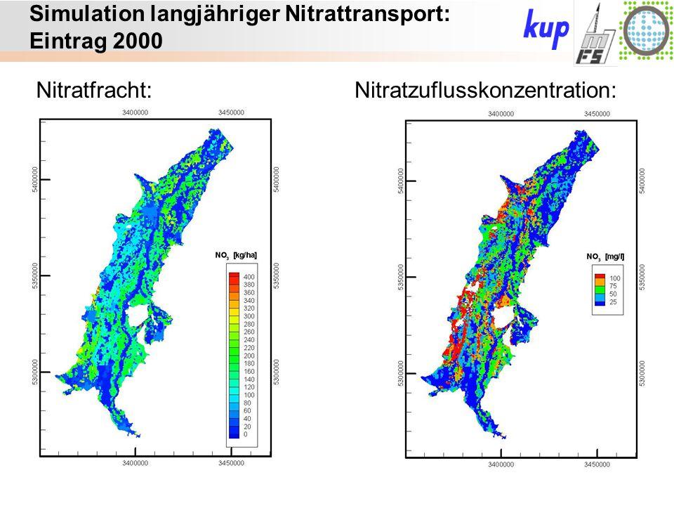 Untersuchungsgebiet: Simulation langjähriger Nitrattransport: Eintrag 2000 Nitratfracht:Nitratzuflusskonzentration: