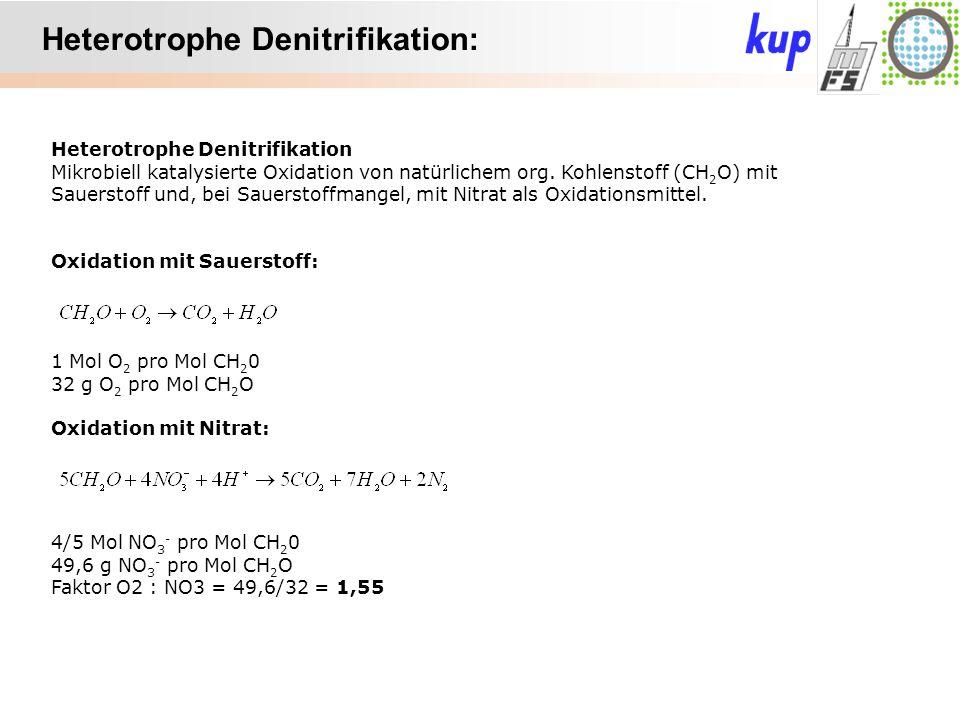 Untersuchungsgebiet: Heterotrophe Denitrifikation: Heterotrophe Denitrifikation Mikrobiell katalysierte Oxidation von natürlichem org. Kohlenstoff (CH