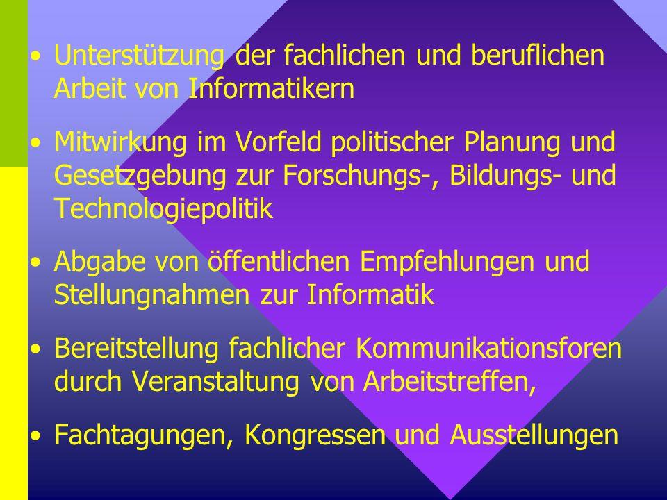 Unterstützung der fachlichen und beruflichen Arbeit von Informatikern Mitwirkung im Vorfeld politischer Planung und Gesetzgebung zur Forschungs-, Bild