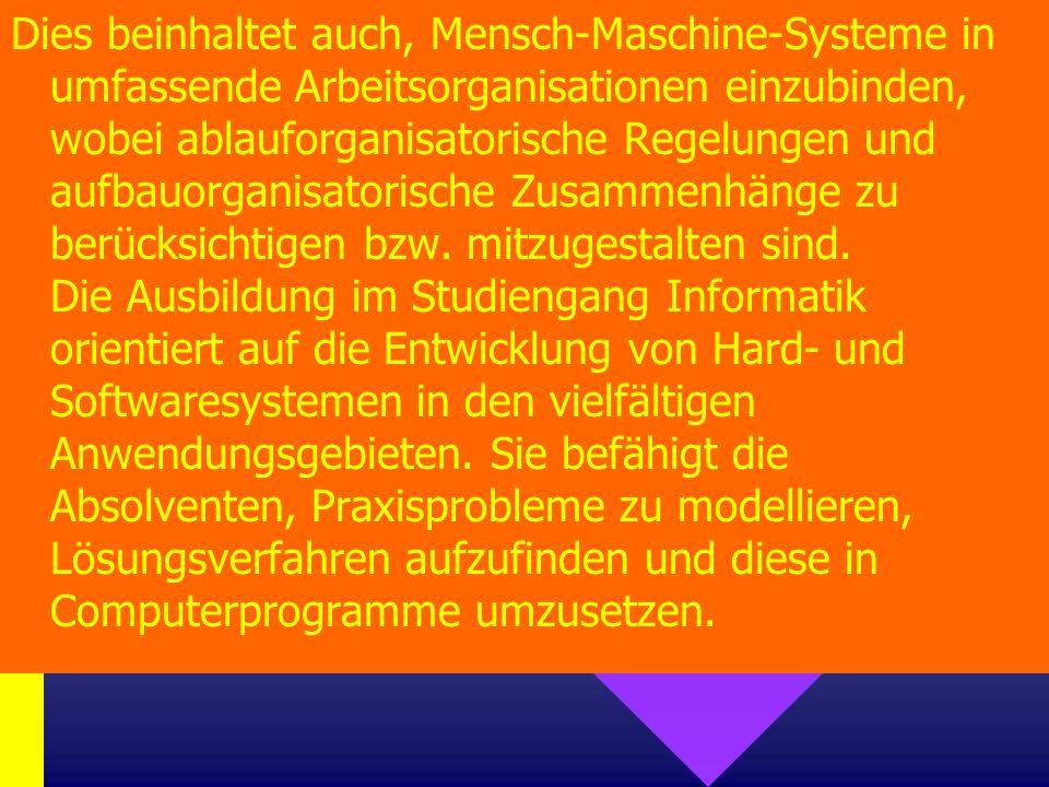 Dies beinhaltet auch, Mensch-Maschine-Systeme in umfassende Arbeitsorganisationen einzubinden, wobei ablauforganisatorische Regelungen und aufbauorganisatorische Zusammenhänge zu berücksichtigen bzw.
