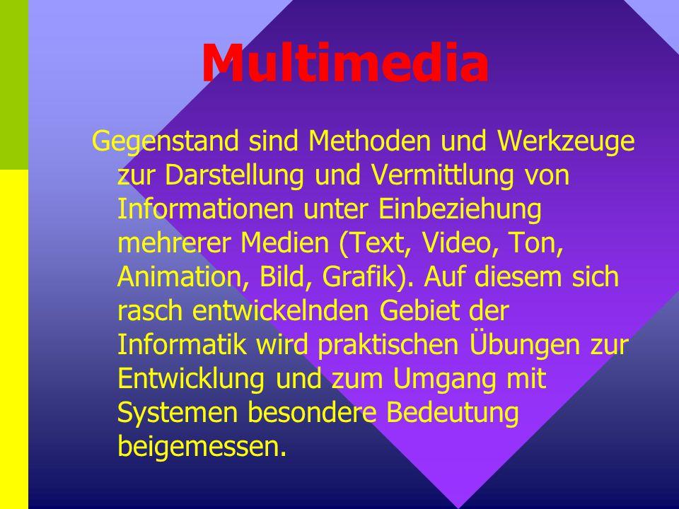 Multimedia Gegenstand sind Methoden und Werkzeuge zur Darstellung und Vermittlung von Informationen unter Einbeziehung mehrerer Medien (Text, Video, Ton, Animation, Bild, Grafik).