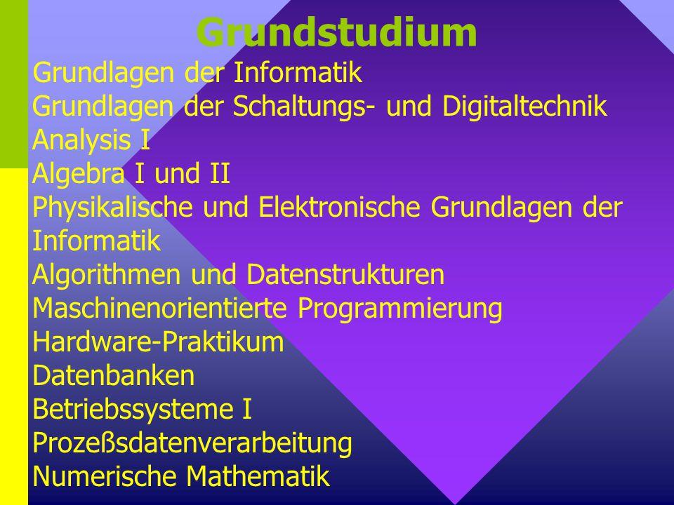 Grundstudium Grundlagen der Informatik Grundlagen der Schaltungs- und Digitaltechnik Analysis I Algebra I und II Physikalische und Elektronische Grund