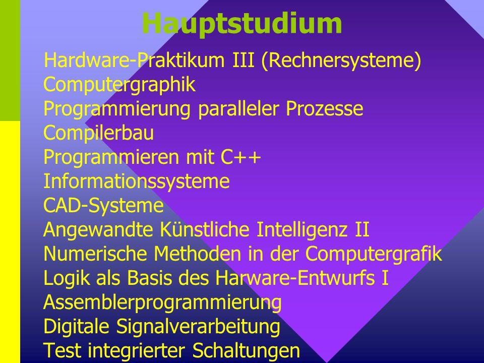Hauptstudium Hardware-Praktikum III (Rechnersysteme) Computergraphik Programmierung paralleler Prozesse Compilerbau Programmieren mit C++ Informations
