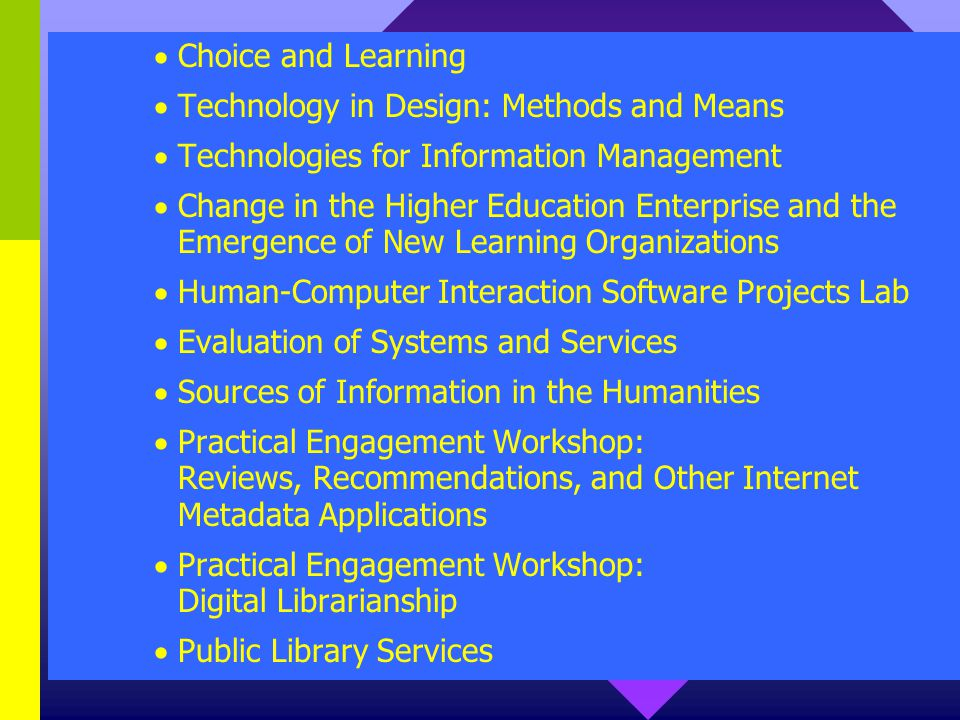 Choice and Learning Technology in Design: Methods and Means Technologies for Information Management Change in the Higher Education Enterprise and the Emergence of New Learning Organizations Human-Computer Interaction Software Projects Lab Evaluation of Systems and Services Sources of Information in the Humanities Practical Engagement Workshop: Reviews, Recommendations, and Other Internet Metadata Applications Practical Engagement Workshop: Digital Librarianship Public Library Services