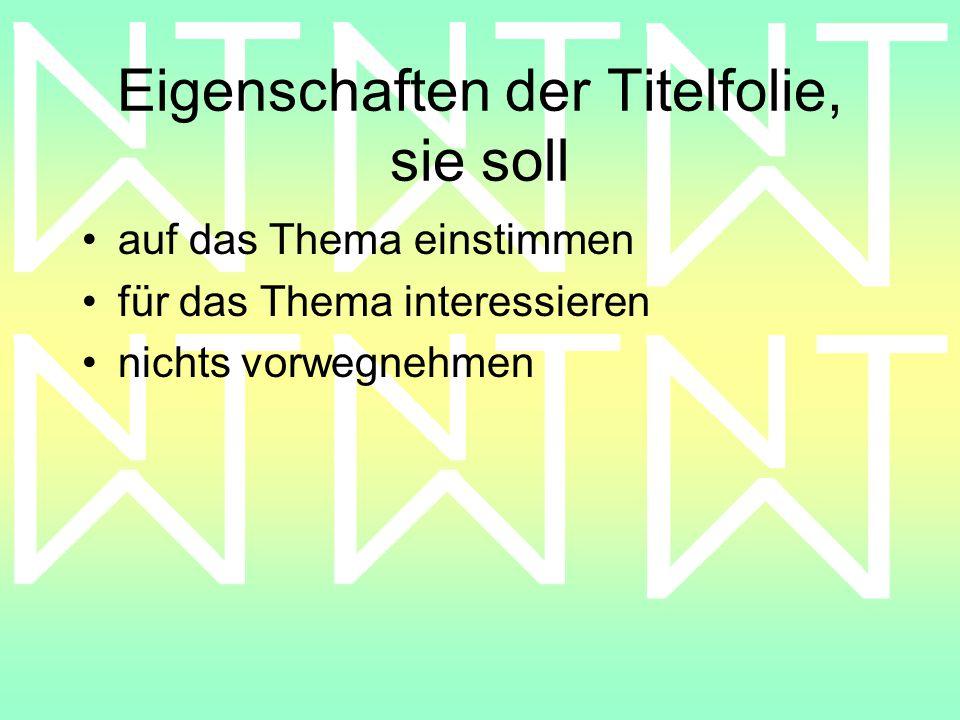 Gesamtlayout: legt einen gemeinsamen oder einen abgestimmten Hintergrund fest: –Menü // Format // Hintergrund –achtet auf die farbliche Gestaltung –achtet auf einen abgestimmten Aufbau der einzelnen Folien legt den Folienübergang fest : Menü // Bildschirmpräsentation // Folienübergang