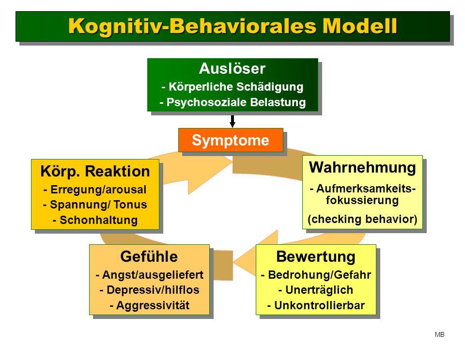 Auslöser - Körperliche Schädigung - Psychosoziale Belastung Auslöser - Körperliche Schädigung - Psychosoziale Belastung Symptome Wahrnehmung - Aufmerksamkeits- fokussierung (checking behavior) Wahrnehmung - Aufmerksamkeits- fokussierung (checking behavior) Bewertung - Bedrohung/Gefahr - Unerträglich - Unkontrollierbar Bewertung - Bedrohung/Gefahr - Unerträglich - Unkontrollierbar Gefühle - Angst/ausgeliefert - Depressiv/hilflos - Aggressivität Gefühle - Angst/ausgeliefert - Depressiv/hilflos - Aggressivität Körp.