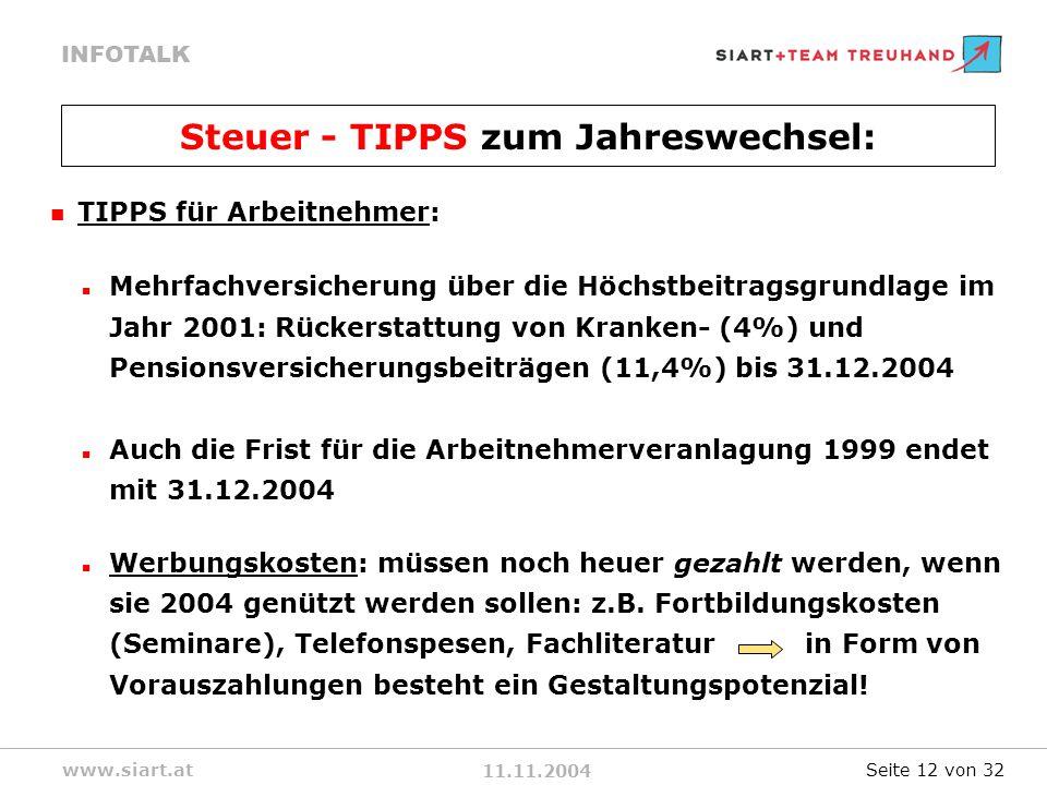 11.11.2004 INFOTALK www.siart.at TIPPS für Arbeitnehmer: Mehrfachversicherung über die Höchstbeitragsgrundlage im Jahr 2001: Rückerstattung von Kranken- (4%) und Pensionsversicherungsbeiträgen (11,4%) bis 31.12.2004 Auch die Frist für die Arbeitnehmerveranlagung 1999 endet mit 31.12.2004 Werbungskosten: müssen noch heuer gezahlt werden, wenn sie 2004 genützt werden sollen: z.B.