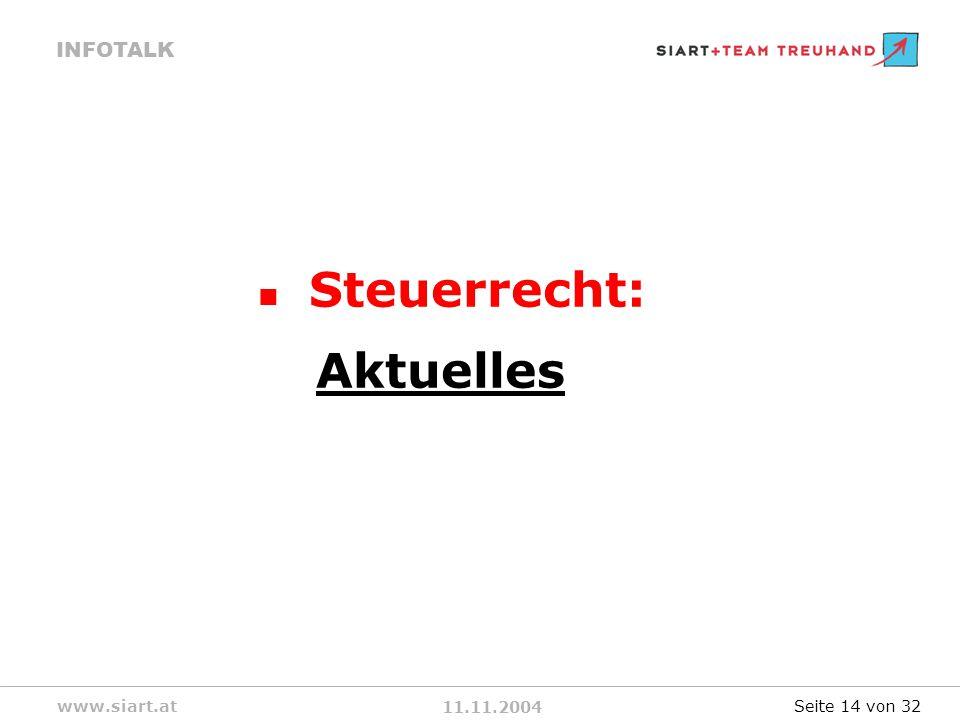 11.11.2004 INFOTALK www.siart.at Steuerrecht: Aktuelles Seite 14 von 32