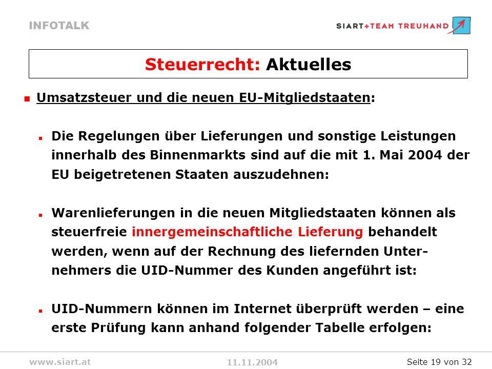 11.11.2004 INFOTALK www.siart.at Umsatzsteuer und die neuen EU-Mitgliedstaaten: Die Regelungen über Lieferungen und sonstige Leistungen innerhalb des Binnenmarkts sind auf die mit 1.
