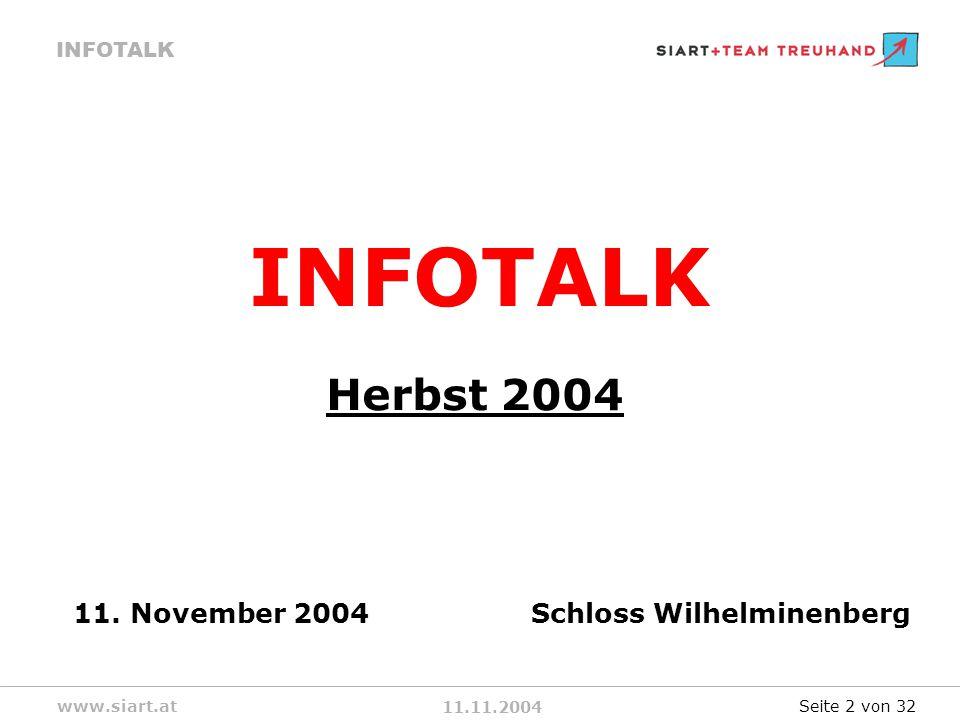 11.11.2004 INFOTALK www.siart.at INFOTALK Herbst 2004 11.