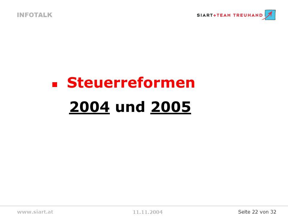 11.11.2004 INFOTALK www.siart.at Steuerreformen 2004 und 2005 Seite 22 von 32