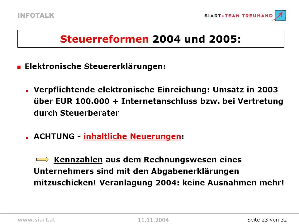 11.11.2004 INFOTALK www.siart.at Elektronische Steuererklärungen: Verpflichtende elektronische Einreichung: Umsatz in 2003 über EUR 100.000 + Internetanschluss bzw.