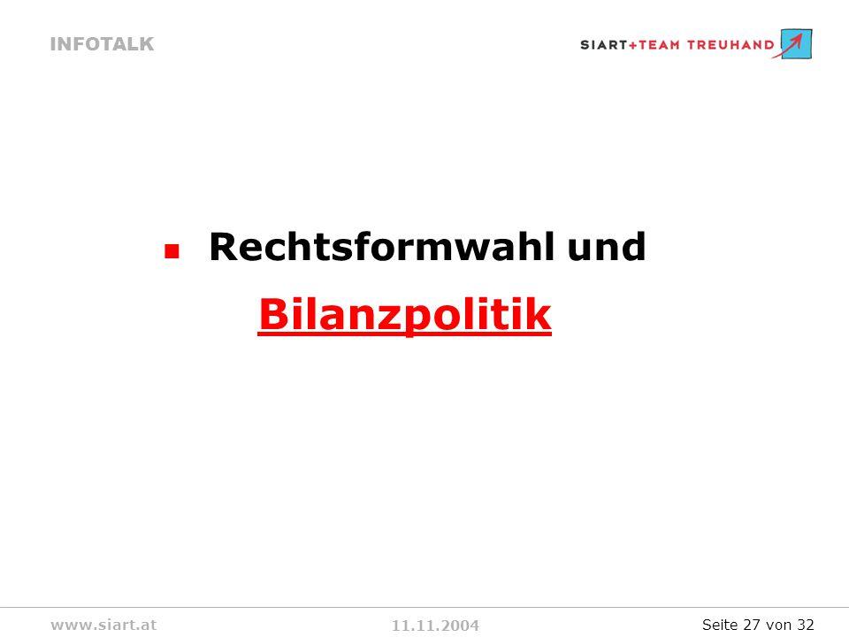 11.11.2004 INFOTALK www.siart.at Rechtsformwahl und Bilanzpolitik Seite 27 von 32