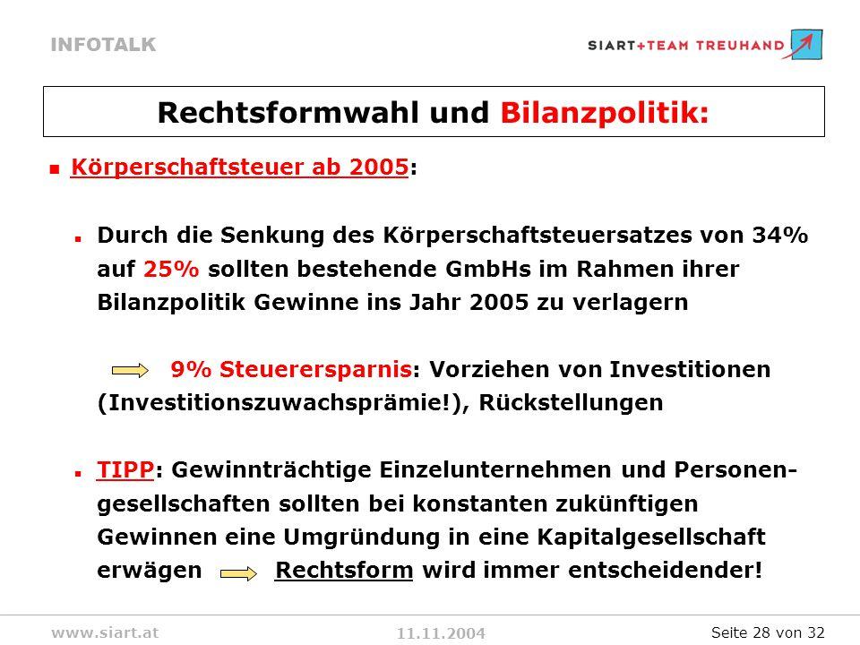 11.11.2004 INFOTALK www.siart.at Körperschaftsteuer ab 2005: Durch die Senkung des Körperschaftsteuersatzes von 34% auf 25% sollten bestehende GmbHs im Rahmen ihrer Bilanzpolitik Gewinne ins Jahr 2005 zu verlagern 9% Steuerersparnis: Vorziehen von Investitionen (Investitionszuwachsprämie!), Rückstellungen TIPP: Gewinnträchtige Einzelunternehmen und Personen- gesellschaften sollten bei konstanten zukünftigen Gewinnen eine Umgründung in eine Kapitalgesellschaft erwägen Rechtsform wird immer entscheidender.