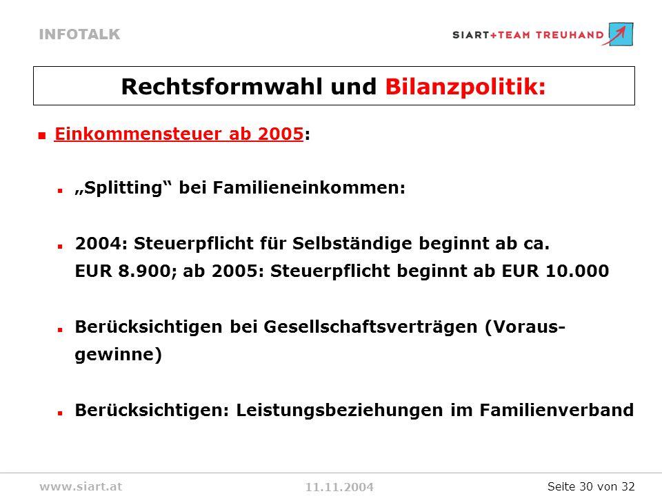 11.11.2004 INFOTALK www.siart.at Einkommensteuer ab 2005: Splitting bei Familieneinkommen: 2004: Steuerpflicht für Selbständige beginnt ab ca.