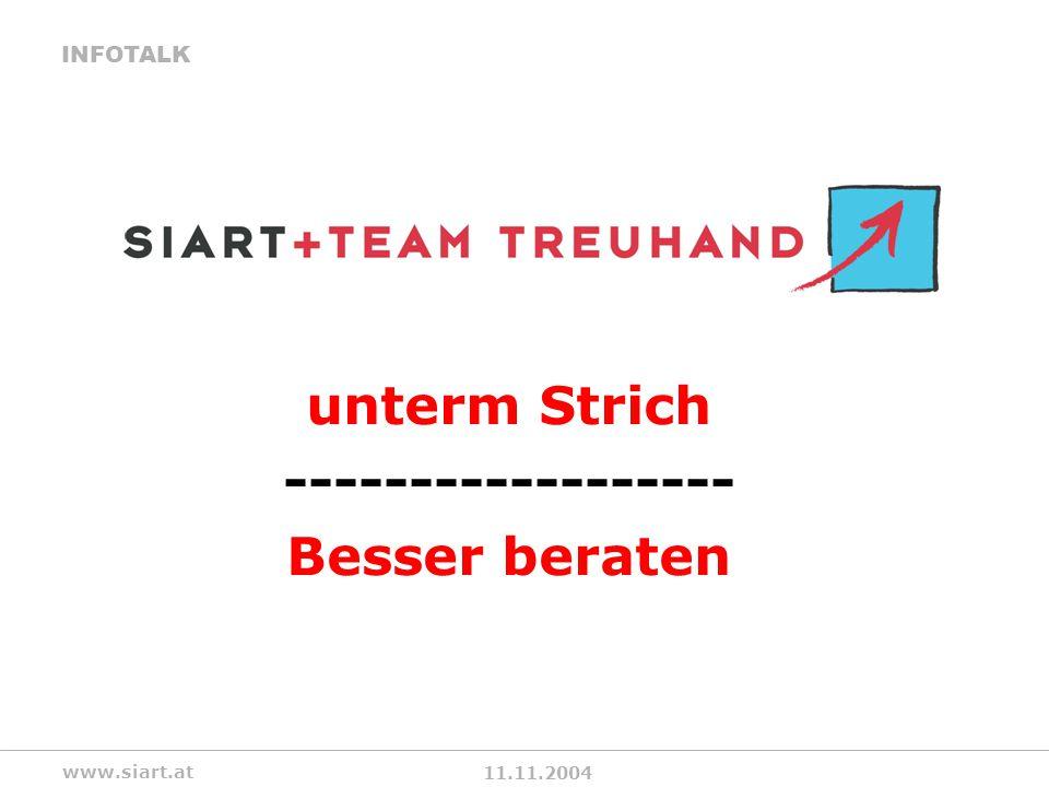 11.11.2004 INFOTALK www.siart.at unterm Strich ------------------ Besser beraten