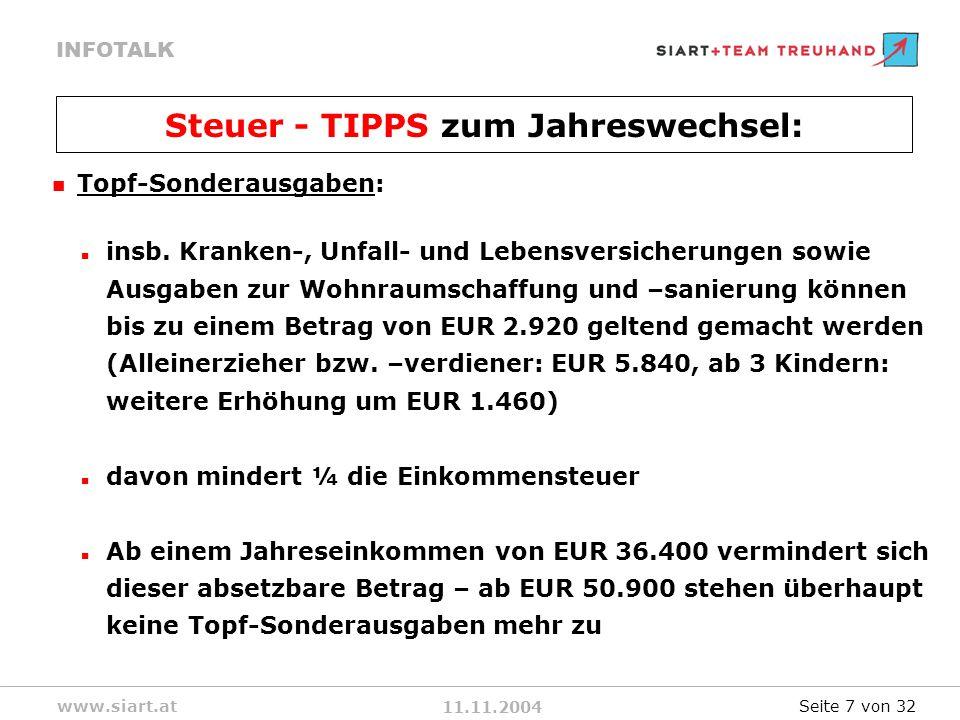 11.11.2004 INFOTALK www.siart.at Topf-Sonderausgaben: insb.