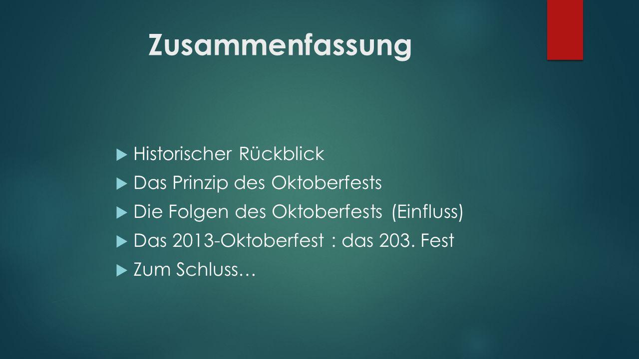 Zusammenfassung Historischer Rückblick Das Prinzip des Oktoberfests Die Folgen des Oktoberfests (Einfluss) Das 2013-Oktoberfest : das 203. Fest Zum Sc