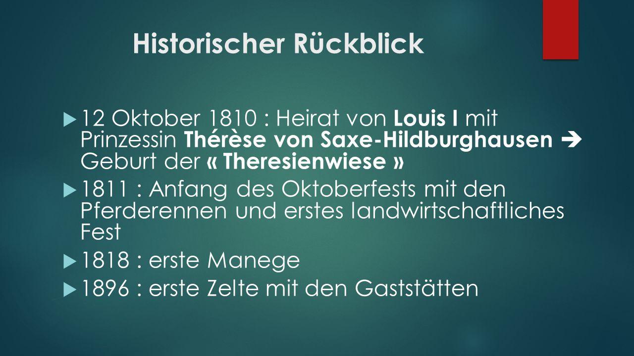 Historischer Rückblick 12 Oktober 1810 : Heirat von Louis I mit Prinzessin Thérèse von Saxe-Hildburghausen Geburt der « Theresienwiese » 1811 : Anfang