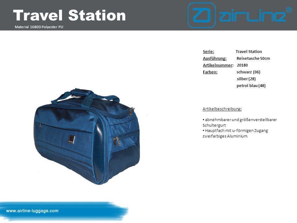 Travel Station Material 1680D Polyester PU Serie: Travel Station Ausführung: Trolley-Tasche 64 cm Artikelnummer: Farben: schwarz (06) silber (28) petrol blau (48) Artikelbeschreibung: Trolleygestänge mit Airline Schriftzug Bodenschutz