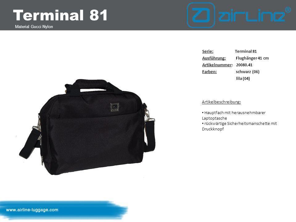 Terminal 81 Material Gucci Nylon Serie: Terminal 81 Ausführung: Reisetasche 50 cm Artikelnummer: 20085.50 Farben: schwarz (06) lila (04) Artikelbeschreibung: Hauptfach mit U-förmiger Öffnung eine Reißverschluss- Innentasche