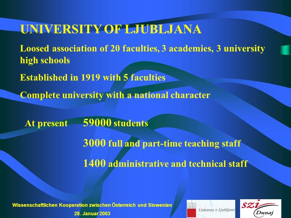 Wissenschaftlichen Kooperation zwischen Österreich und Slowenien 28. Januar 2003 UNIVERSITY OF LJUBLJANA Loosed association of 20 faculties, 3 academi