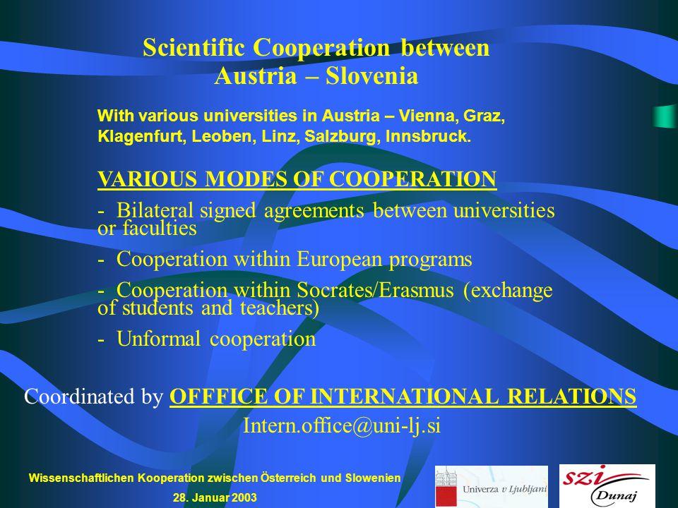 Wissenschaftlichen Kooperation zwischen Österreich und Slowenien 28. Januar 2003 Scientific Cooperation between Austria – Slovenia VARIOUS MODES OF CO