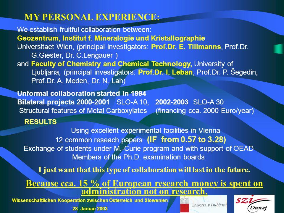 Wissenschaftlichen Kooperation zwischen Österreich und Slowenien 28. Januar 2003 MY PERSONAL EXPERIENCE: We establish fruitful collaboration between: