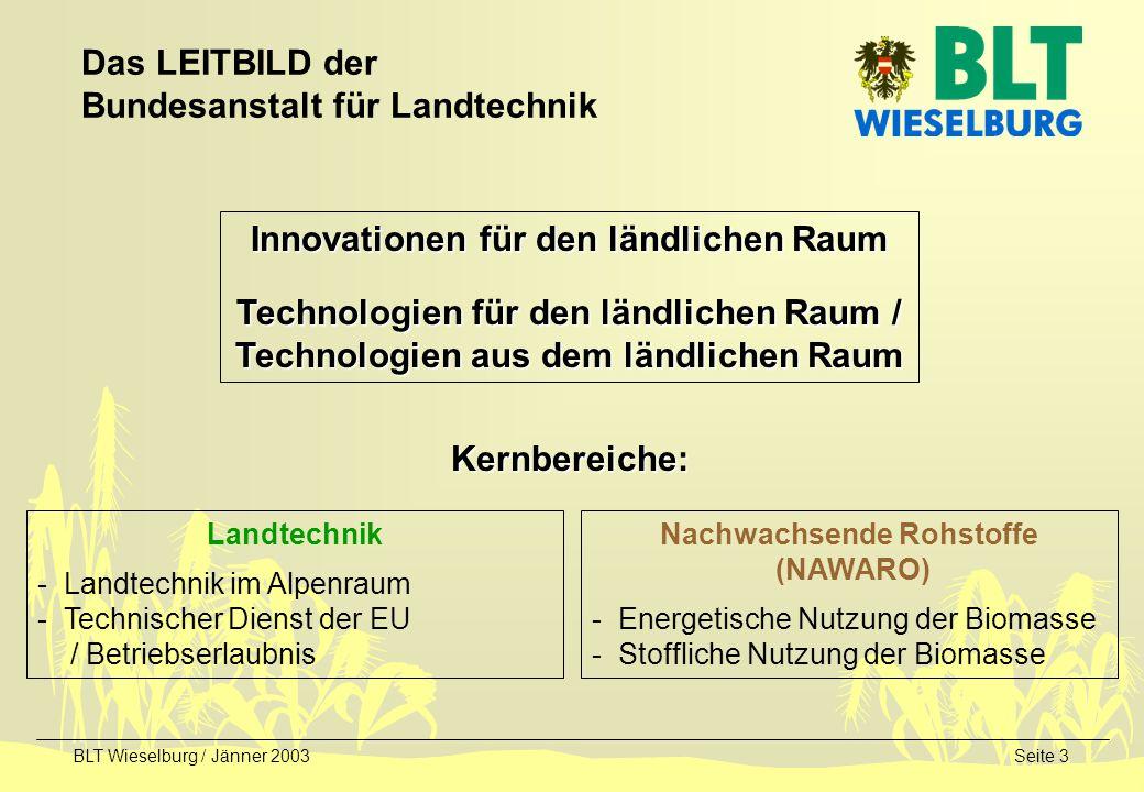 BLT Wieselburg / Jänner 2003Seite 3 Das LEITBILD der Bundesanstalt für Landtechnik Innovationen für den ländlichen Raum Technologien für den ländliche