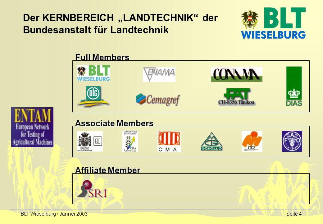 BLT Wieselburg / Jänner 2003Seite 5 Studien und Strategien zur Markteinführung von Energie und Produkten aus Biomasse F&E-Schwerpunkt Verbrennung fester Biomasse F&E-Schwerpunkt Biokraftstoffe Nischenprodukte aus nachwachsenden Rohstoffen (Pflanzenölfarben, Flachs/Hanf, Rapsasphalt, Schmiermittel,...) Fachbereichsarbeitsgruppe des BMLFUW Nachwachsende Rohstoffe Evaluierung von Projekten (BMLFUW, D, EU) F&E-Projekte / national / EU-Co-finanziert Der KERNBEREICH NAWARO der Bundesanstalt für Landtechnik