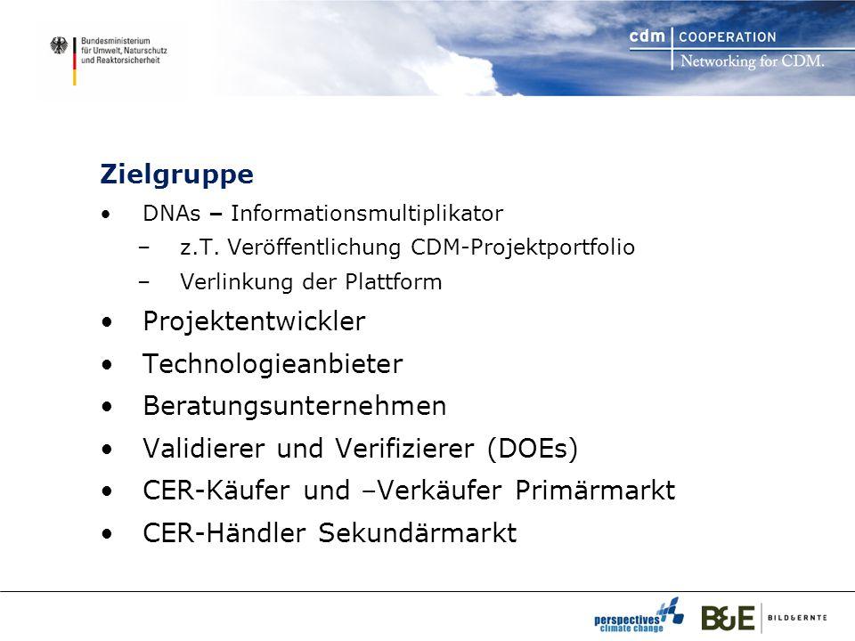 Status Konzeptionelle Phase 2007 / 2008 Vorstellung der Maßnahmen in D und LA (KMUs) 23 registrierte Mitglieder aus 11 Ländern begleiten Testphase aktiv 11 Projekte sind exemplarisch eingestellt DNAs (LA Carbon Forum Peru 2007, Bali) i.a.