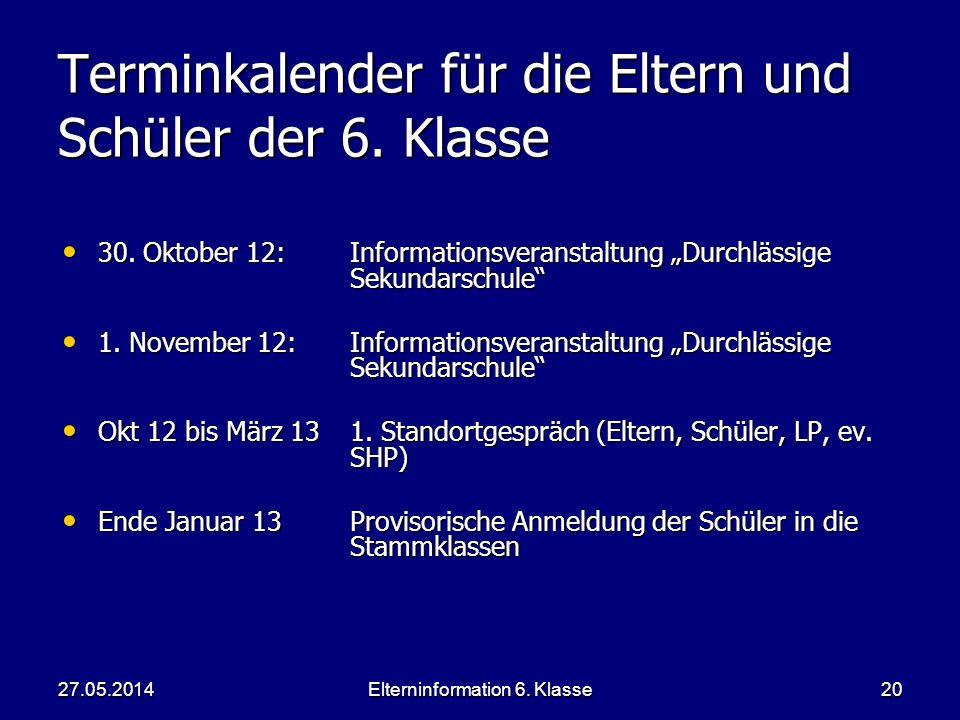 Elterninformation 6. Klasse20 Terminkalender für die Eltern und Schüler der 6.
