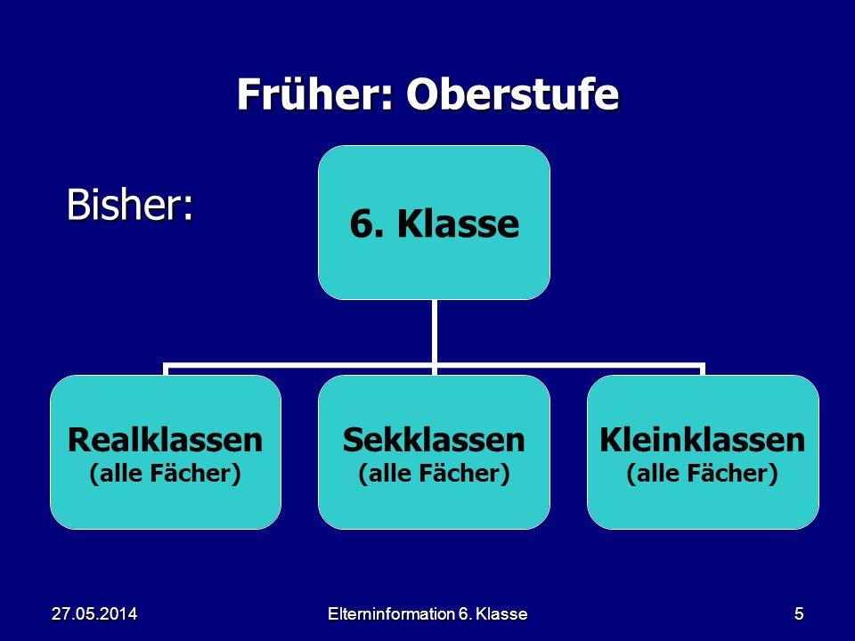Elterninformation 6. Klasse5 Früher: Oberstufe 6.