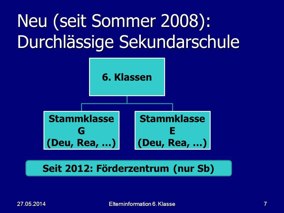Elterninformation 6. Klasse7 Neu (seit Sommer 2008): Durchlässige Sekundarschule 6.