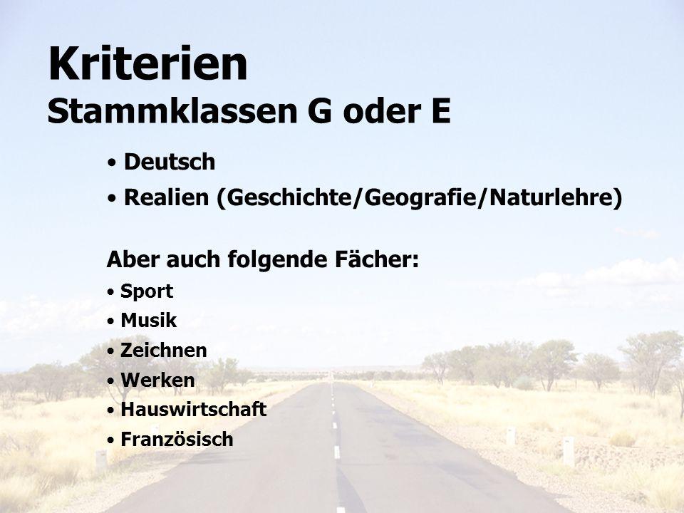 Elterninfo 6. Klasse 201111 Kriterien Stammklassen G oder E Deutsch Realien (Geschichte/Geografie/Naturlehre) Aber auch folgende Fächer: Sport Musik Z