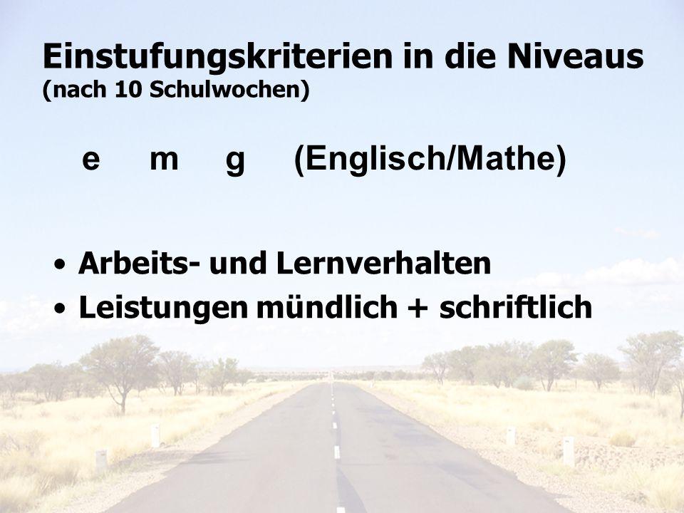 Einstufungskriterien in die Niveaus (nach 10 Schulwochen) emg (Englisch/Mathe) Arbeits- und Lernverhalten Leistungen mündlich + schriftlich