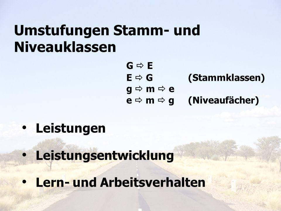 Leistungen Leistungsentwicklung Lern- und Arbeitsverhalten Umstufungen Stamm- und Niveauklassen G E E G (Stammklassen) g m e e m g (Niveaufächer)